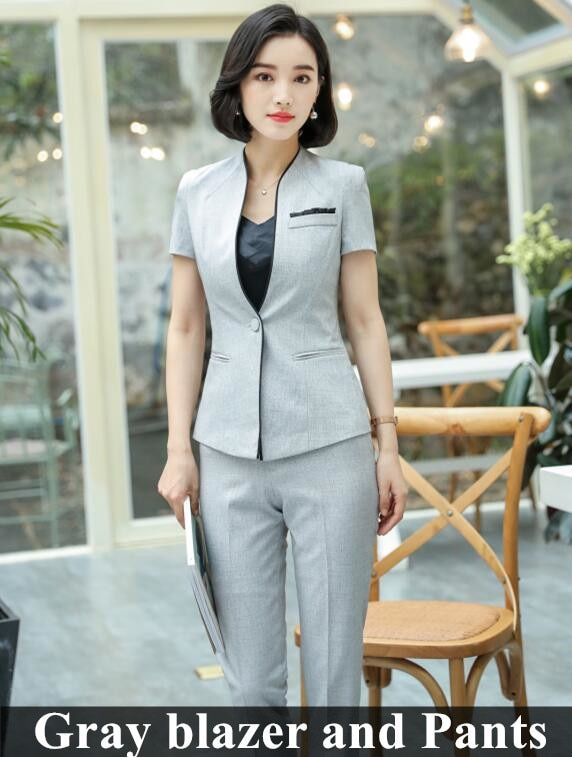 Business formal women skirt suit summer fashion elegant short .