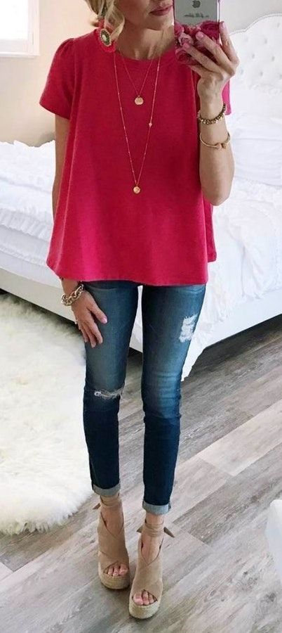 fall #outfits women's red short-sleeve blouse and denim skinny .
