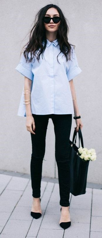Short-sleeve shirt + skinny jeans (ballet shoes) | Simple outfits .