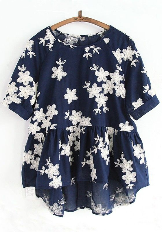 Navy Blue Flowers Embroidery Short Sleeve Blouse | Outfit ideas in .