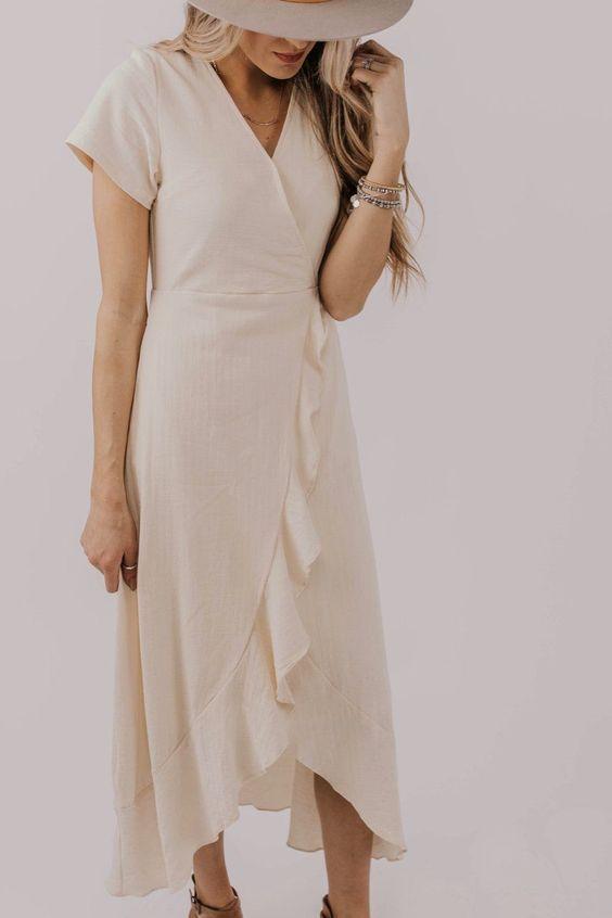Short Sleeve Modest Dresses. Easter Dress Outfit Ideas. Ruffle .