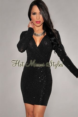 Black Allover Mini Sequins Long Sleeves Dress Womens clothing .