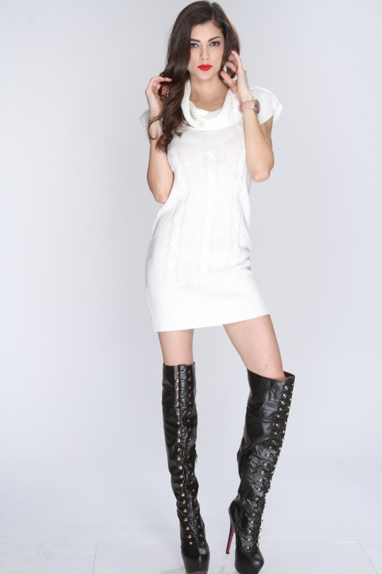 White Knitted Short Sleeve Sweater Dress @ Amiclubwear Clothing .
