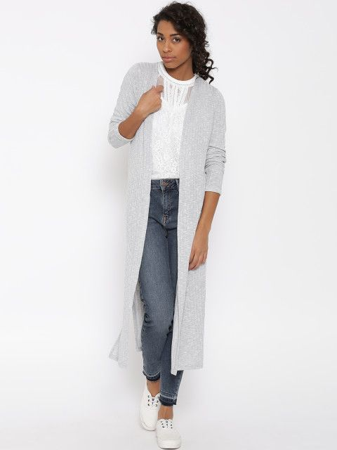 New Look Grey Melange Self-Striped Longline Shrug | Shrug for .