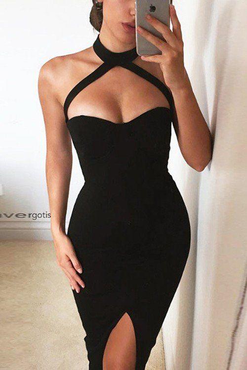 Sleeveless Front Split Halter Midi Dress in Black - US$9.99 in .