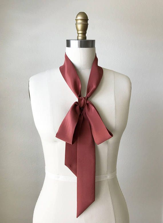 Red clay silk skinny scarf. 70″x 2″ Versatile as a choker scarf .