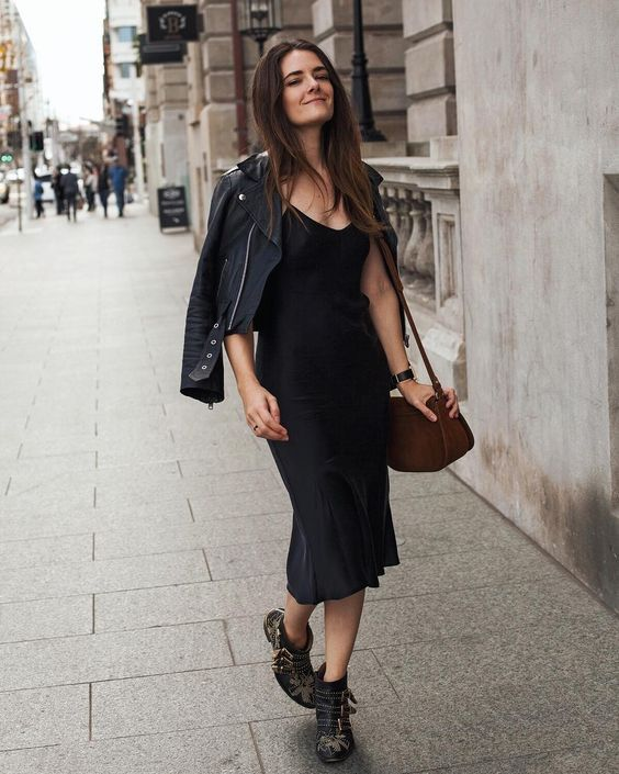 SIlk slip trends black slip dress midi beliano fall look outfit .