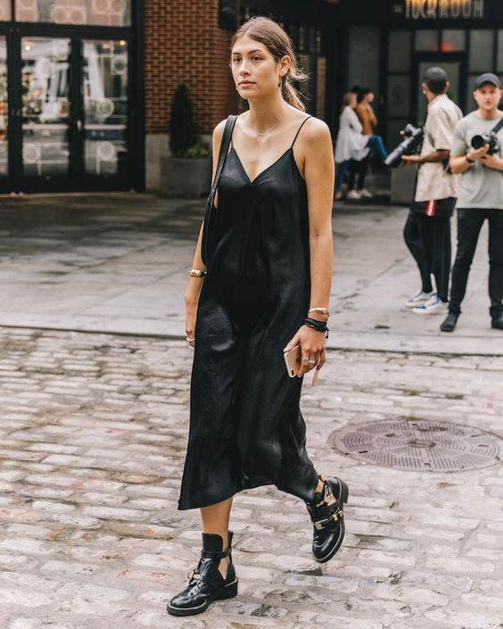 How do you style your black silk slip dress Outfit ideas for this .