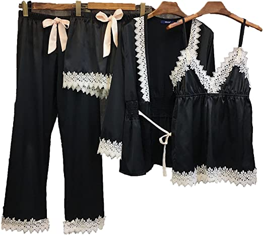 Pajamas for Women Silky Set 4 pcs Silk Satins Lace Sleepwear Thin .