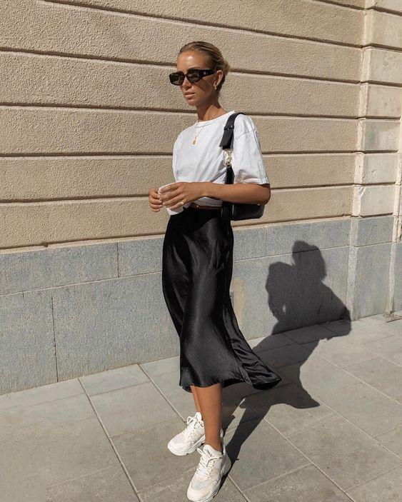 Silk black slip skirt fall looks trends fashion blogger blog midi .