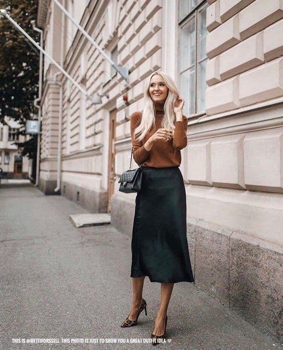 Stretch silk skirt midi black a-line skirt outfit Silk slip bias .