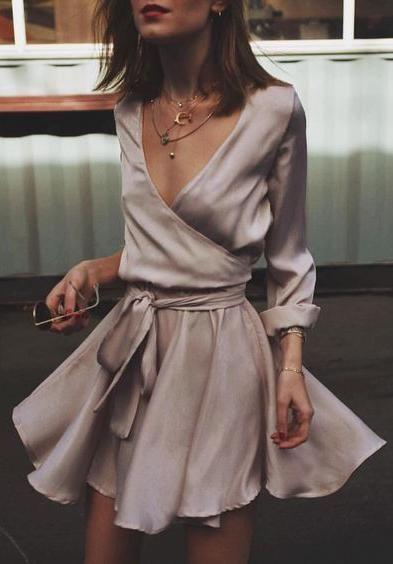 Women's fashion | Ribbon belted silk fold dress | Fashion, Dresses .