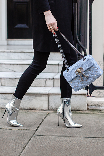 High Heeled Silver boot from Kurt Geiger | Silver ankle boots .