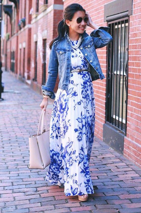 Blue Floral Print Ruffle Silver Belt Chiffon Casual Fashion Maxi .