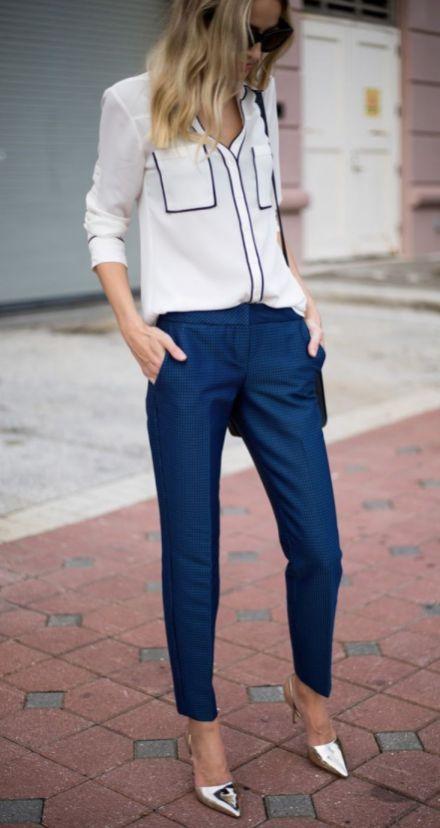 Trendy Office Outfit Blouse Plus Blue Pants Plus Silver Heels .