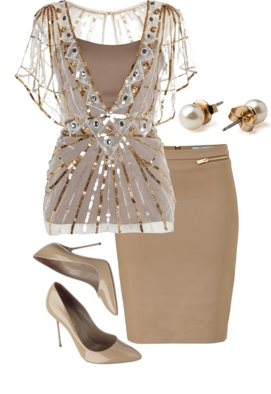 Fashion Style Combination - Beige pencil skirt, pumps, and a .