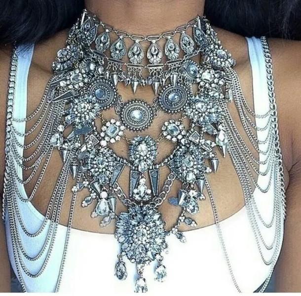 jewels, boho, bohemian, choker necklace, swag, silver, statement .