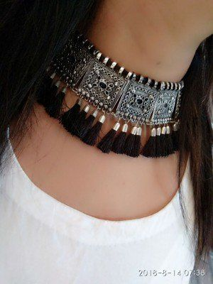 Afghani Oxidised Silver Long Tassel Choker Necklace (Black .