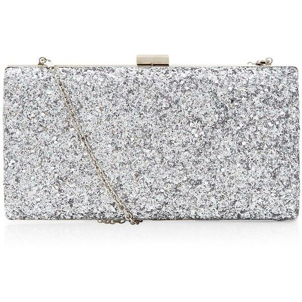 Silver Glitter Chunky Clutch found on Polyvore featuring bags .