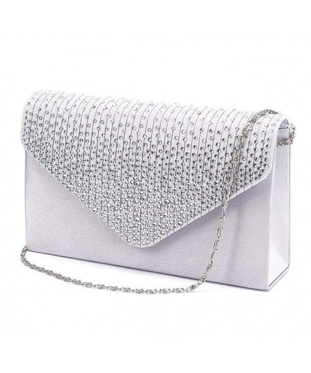 Large Ladies Evening Satin Bridal Diamante Clutch Bag Prom .