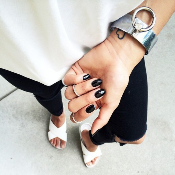jewels, black nails, slide shoes, white shoes, flats, black ripped .