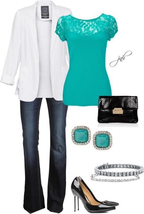 White Turquoise Black Silver Jeans Outfit | Fashion, Stylish .