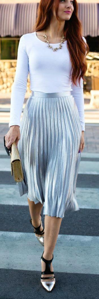 Spring | Metallic skirt, Trendy fall outfits, Trendy dress