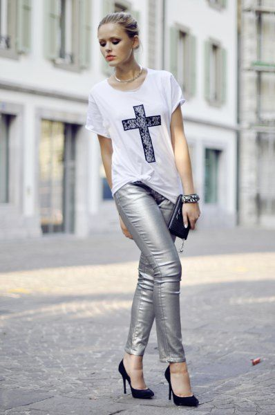 How to Wear Silver Pants: 15 Shiny Outfit Ideas for Women | Silver .