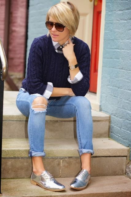 7 ideas to wear silver oxford shoes with style | Brogues outfit .