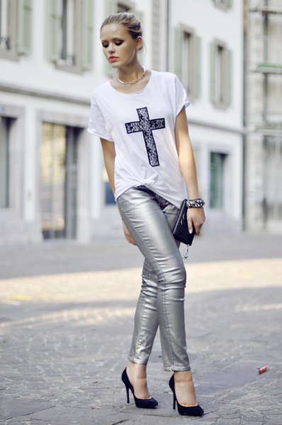 How to Wear Silver Pants: 15 Shiny Outfit Ideas for Women - FMag.c