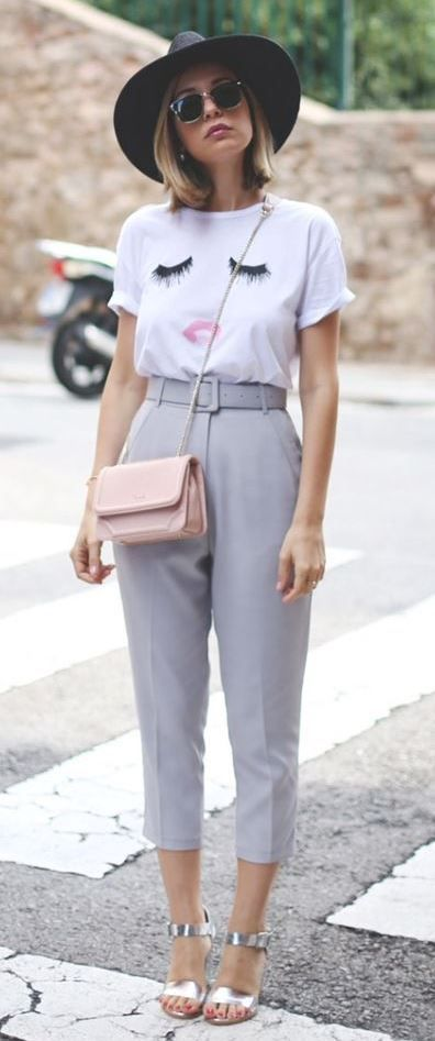 casual outfit inspiration / silver sandals + gery pants + hat + .