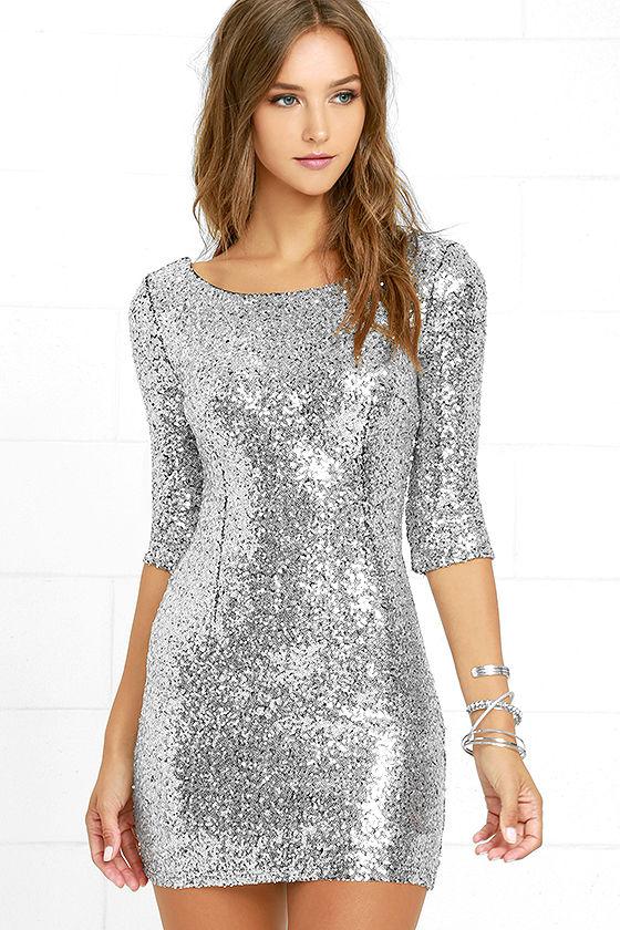 Fancy silver sequin dress – fashionarrow.c