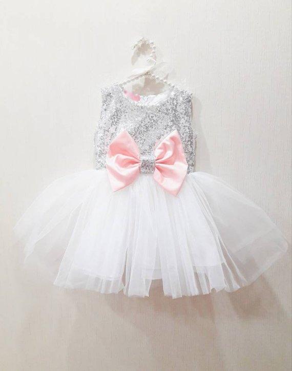 Girls white party dress, girls silver sequin dress, girls pink bow .