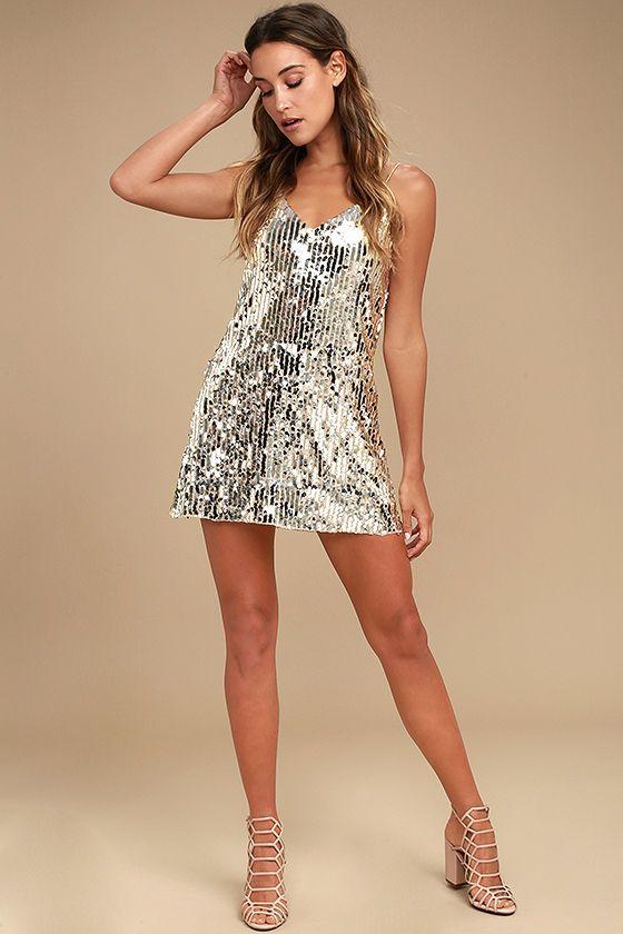 Shine Art Silver Sequin Mini Dress CollectiveStyles.com ♥ Fashion .