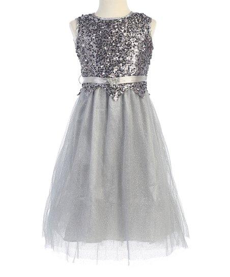 Bijan Kids Silver Sequin Dress - Toddler & Girls | Zuli