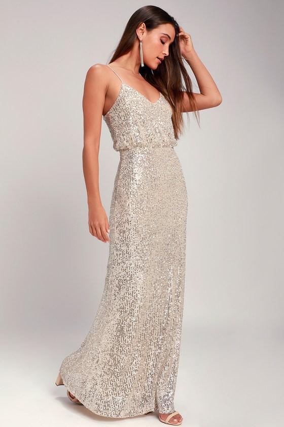 Stunning Sequin Maxi Dress - Silver Sequin Dress - Maxi Dre