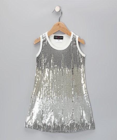 Zoe Silver Sequin Dress - Girls | Zuli