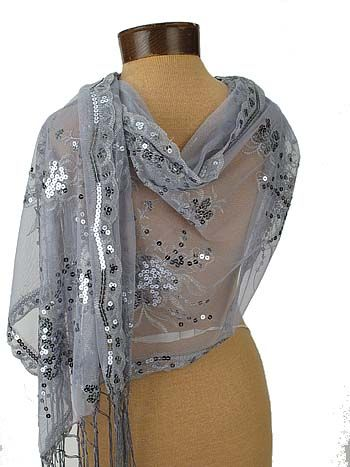 Silver Sequined Embroidered Evening Wrap Shawl | Evening shawls .
