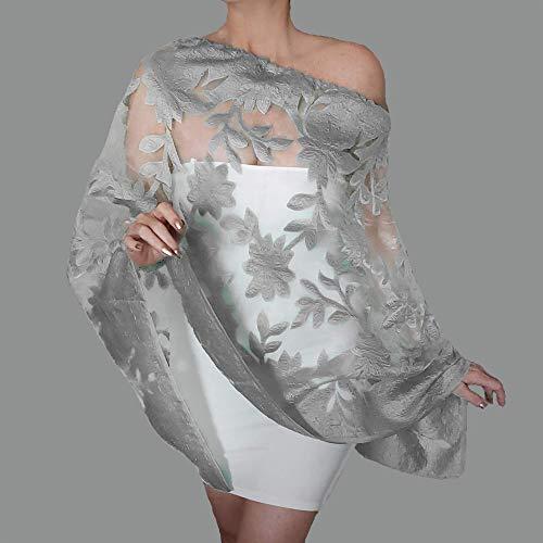 Amazon.com: Silver Wedding Wrap White Organza Stole Grey Evening .