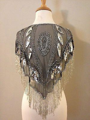 1920s Style Deco Beaded Black & Silver Shawl | 1920s fashion, Deco .