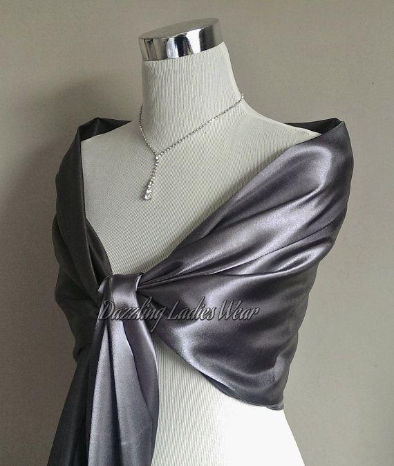 Silver/Grey satin shawl Large Satin Shawl / Wrap / Stole / Bolero .