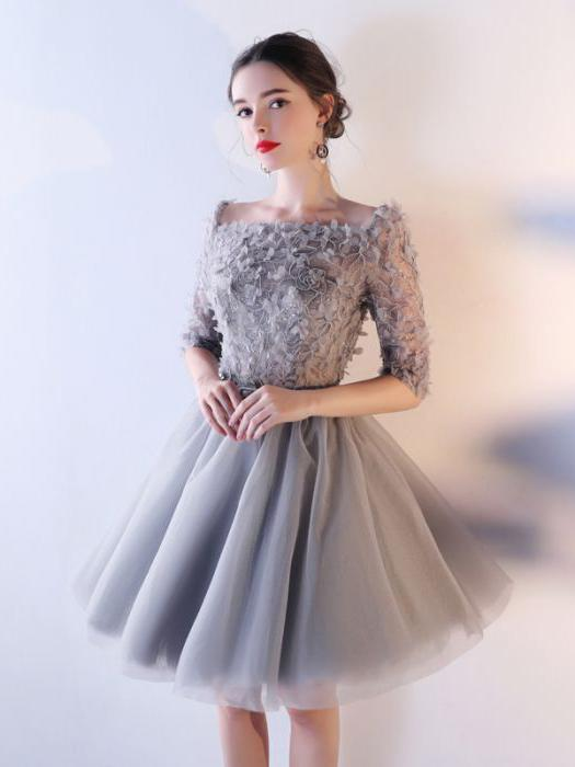 Sizzling silver short prom dress idea with fabric flower .