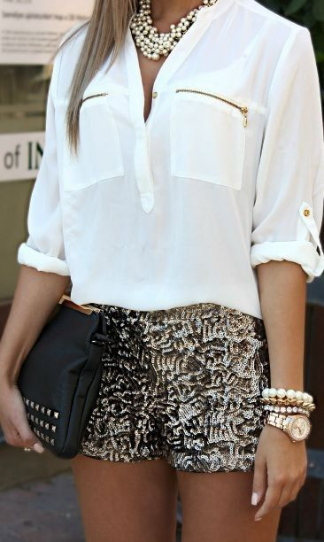spring #outfitideas | White top + silver shorts | Cute Outfits .