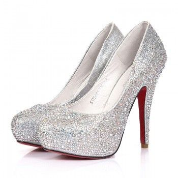 Silver Celebrities Love Super High Heels Sparkle Prom Shoes .