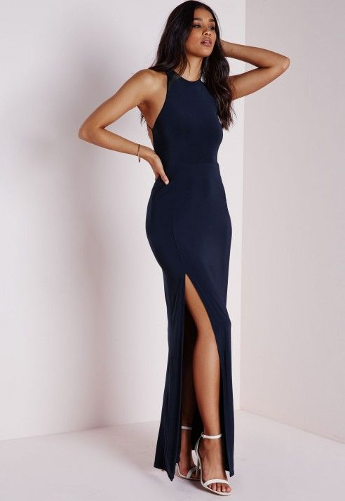 Nora High Neck Navy Maxi Dress - Missguided | Prom dresses .