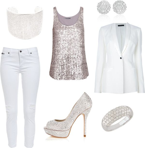 Prefect for a New Years Party! A silver sequined tank paired with .
