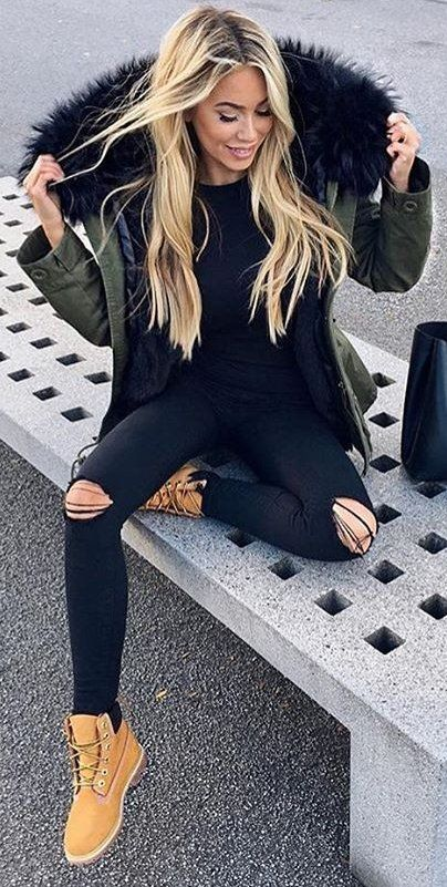 Black Jeans Outfit Ideas : #fall #outfits Army Jacket // Destroyed .