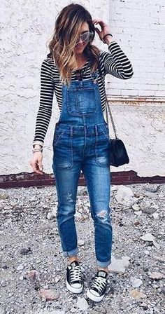 11 cool denim overall spring outfit ideas for college | Outfits .
