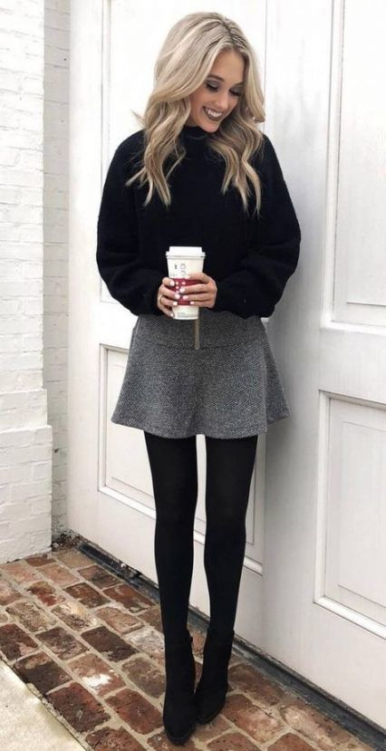 15+ Ideas for skirt with boots outfit winter grey #skirt #boots .