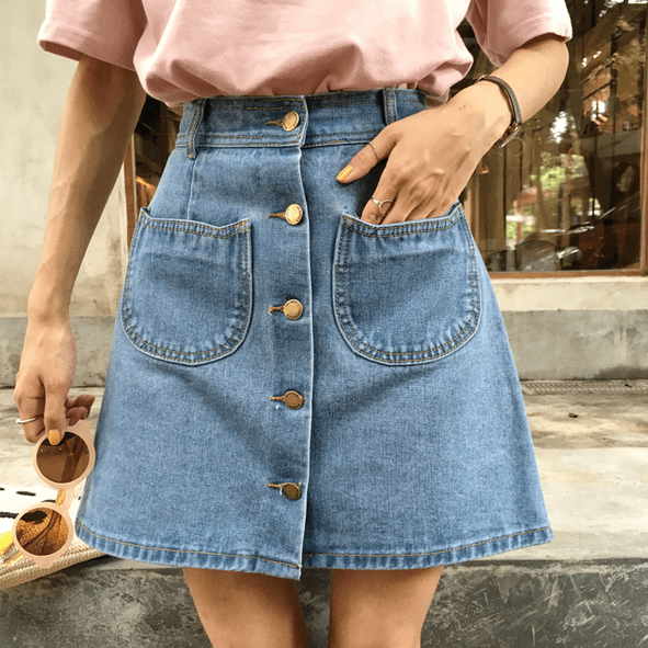itGirl Shop CAT EARS POCKETS DENIM FRON BUTTONS JEAN BLUE SKIRT .